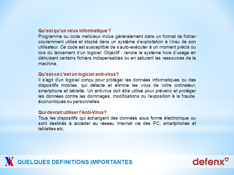 QUELQUES DEFINITIONS IMPORTANTES