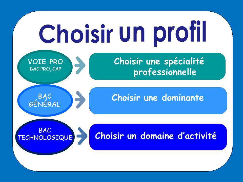 Choisir une spécialité professionnelle Choisir un domaine d'activité