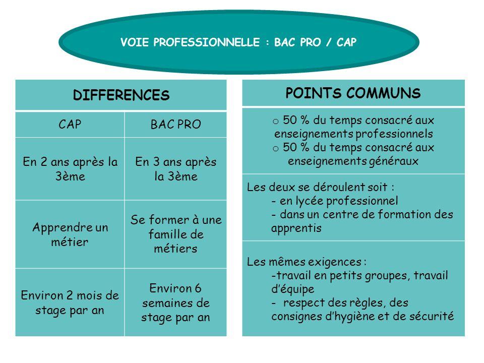 VOIE PROFESSIONNELLE : BAC PRO / CAP