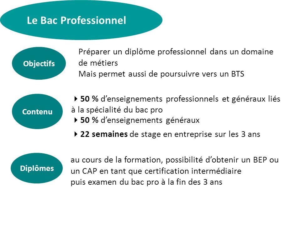 Le Bac Professionnel Préparer un diplôme professionnel dans un domaine de métiers. Mais permet aussi de poursuivre vers un BTS.