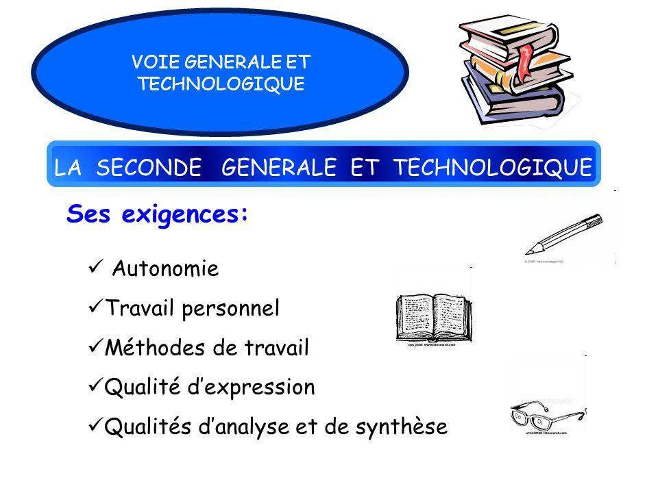 LA SECONDE GENERALE ET TECHNOLOGIQUE