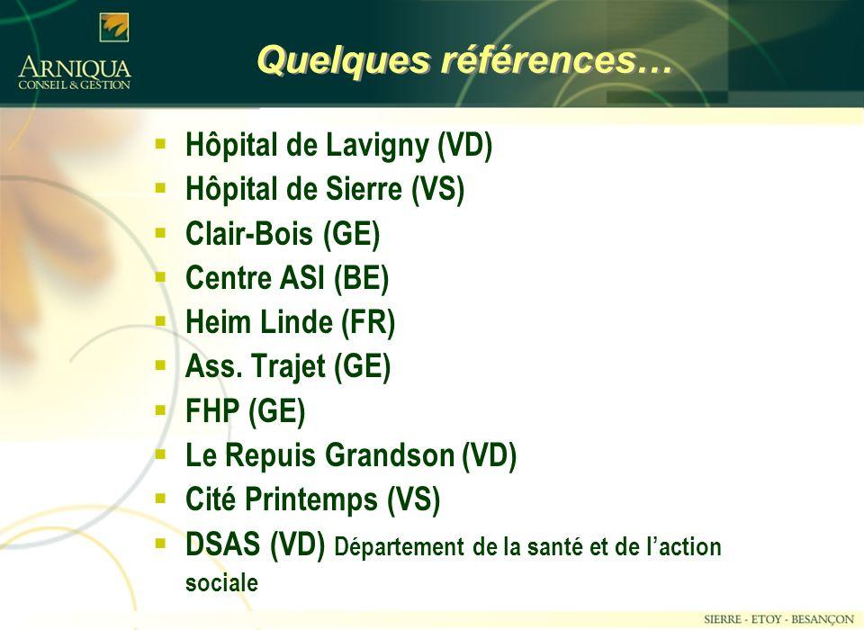 Quelques références… Hôpital de Lavigny (VD) Hôpital de Sierre (VS)