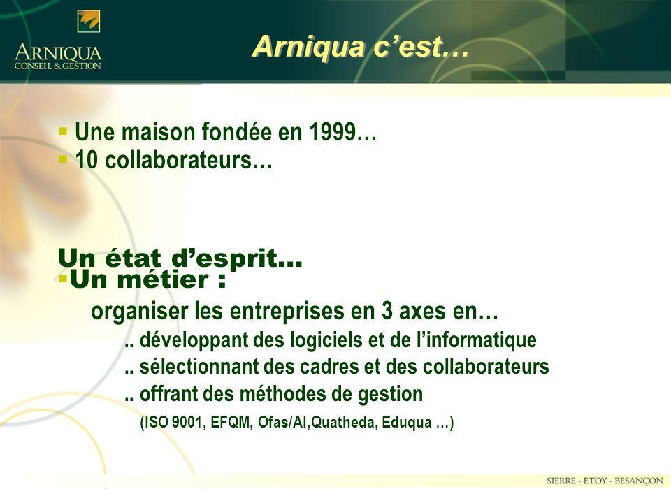 Arniqua c'est… Une maison fondée en 1999… 10 collaborateurs…