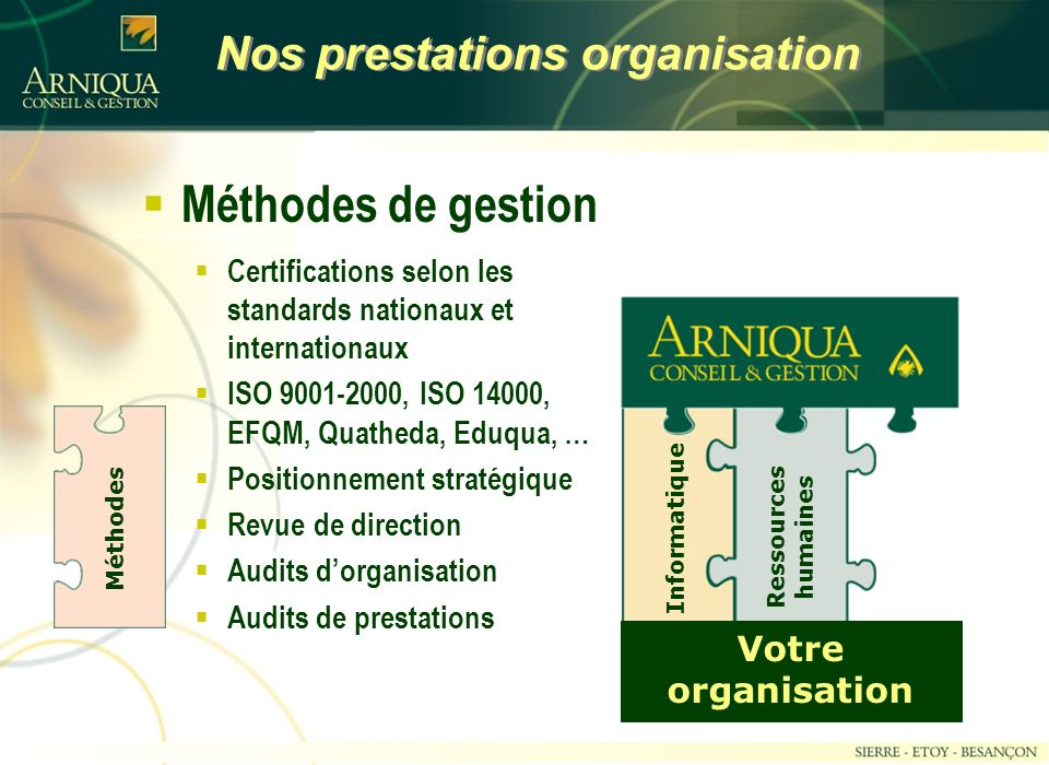 Nos prestations organisation