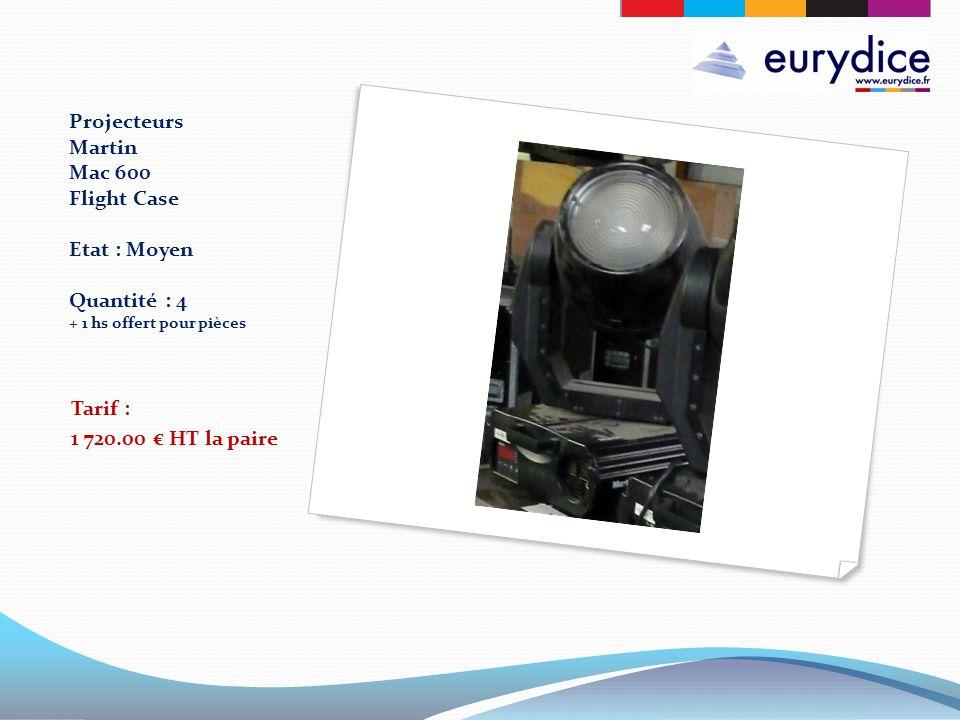 Projecteurs Martin Mac 600 Flight Case Etat : Moyen Quantité : 4 + 1 hs offert pour pièces