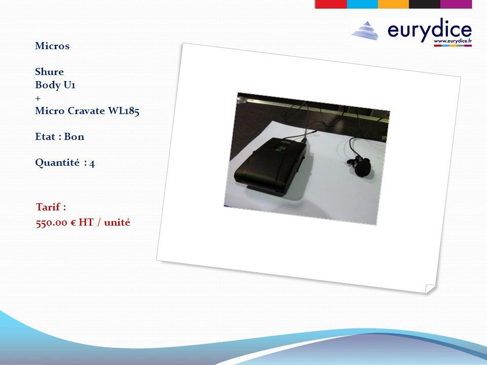 Micros Shure Body U1 + Micro Cravate WL185 Etat : Bon Quantité : 4