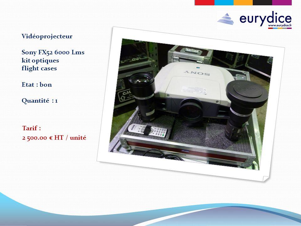 Vidéoprojecteur Sony FX52 6000 Lms kit optiques flight cases Etat : bon Quantité : 1