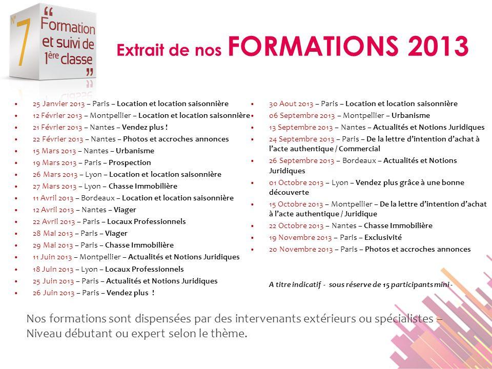 Extrait de nos FORMATIONS 2013