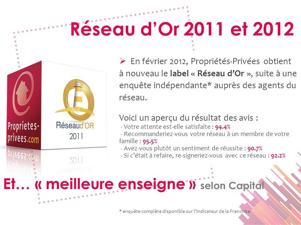 Réseau d'Or 2011 et 2012 Et… « meilleure enseigne » selon Capital