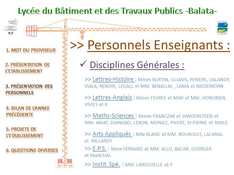 >> Personnels Enseignants :