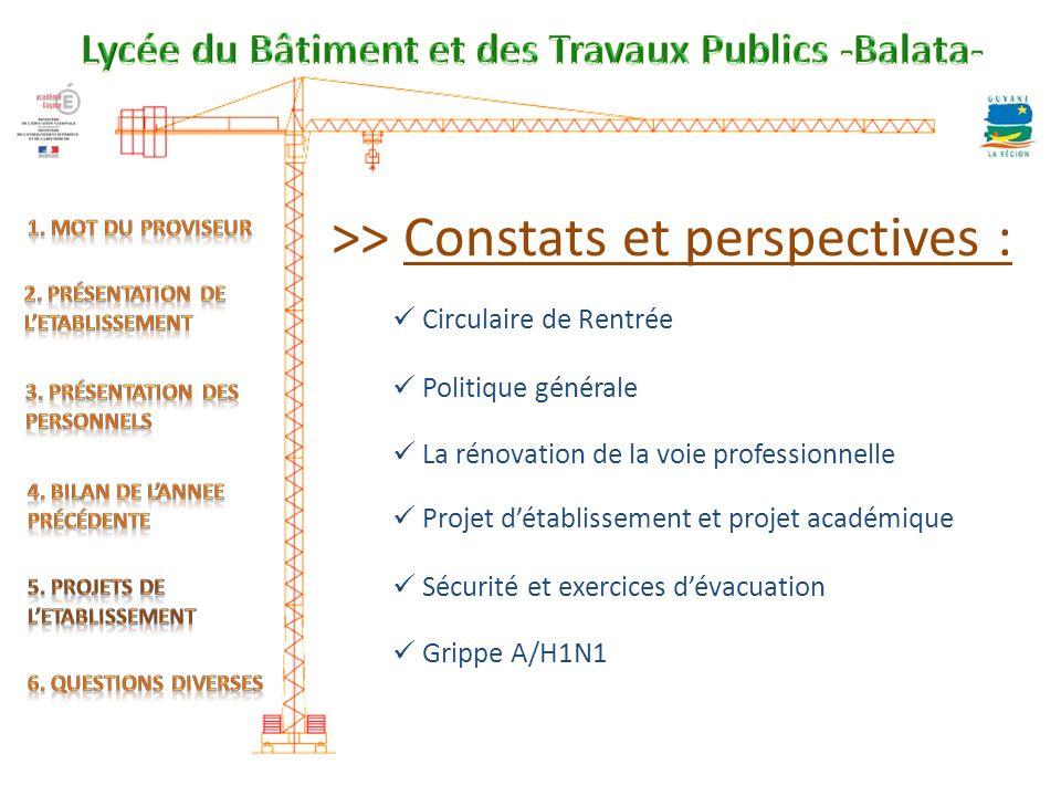 >> Constats et perspectives :