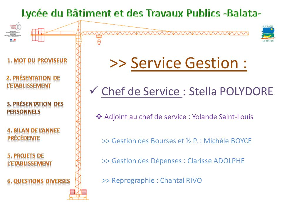 >> Service Gestion :