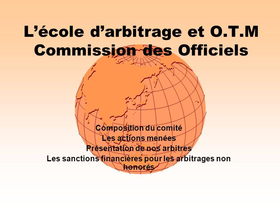 L'école d'arbitrage et O.T.M Commission des Officiels