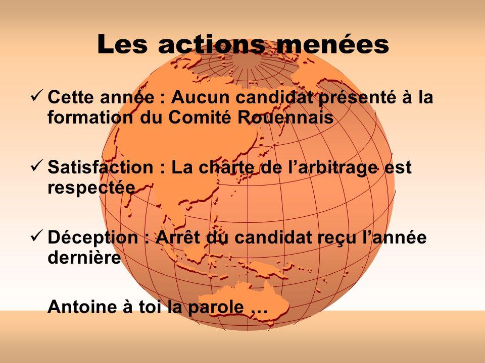 Les actions menées Cette année : Aucun candidat présenté à la formation du Comité Rouennais. Satisfaction : La charte de l'arbitrage est respectée.