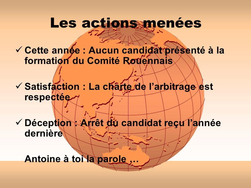 Les actions menéesCette année : Aucun candidat présenté à la formation du Comité Rouennais. Satisfaction : La charte de l'arbitrage est respectée.