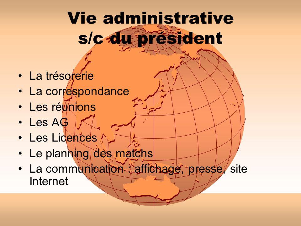 Vie administrative s/c du président