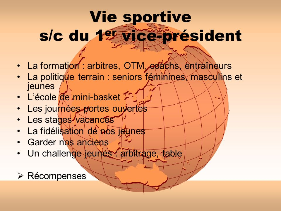 Vie sportive s/c du 1er vice-président