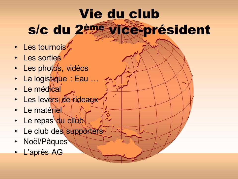 Vie du club s/c du 2ème vice-président