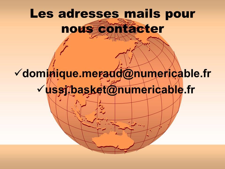 Les adresses mails pour nous contacter
