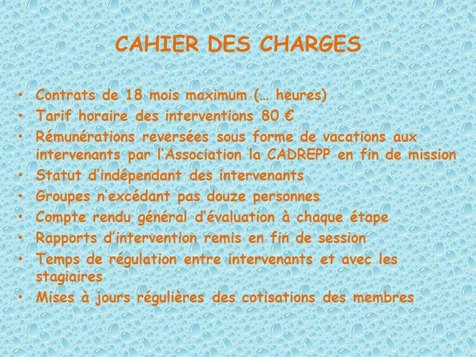 CAHIER DES CHARGES Contrats de 18 mois maximum (… heures)