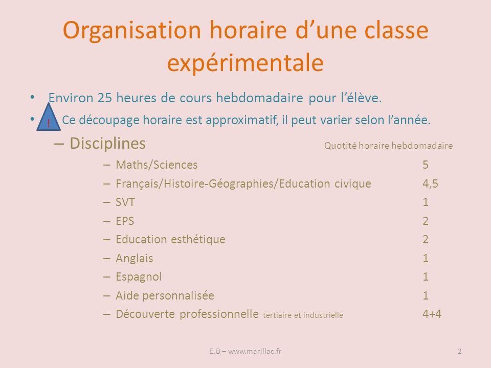 Organisation horaire d'une classe expérimentale