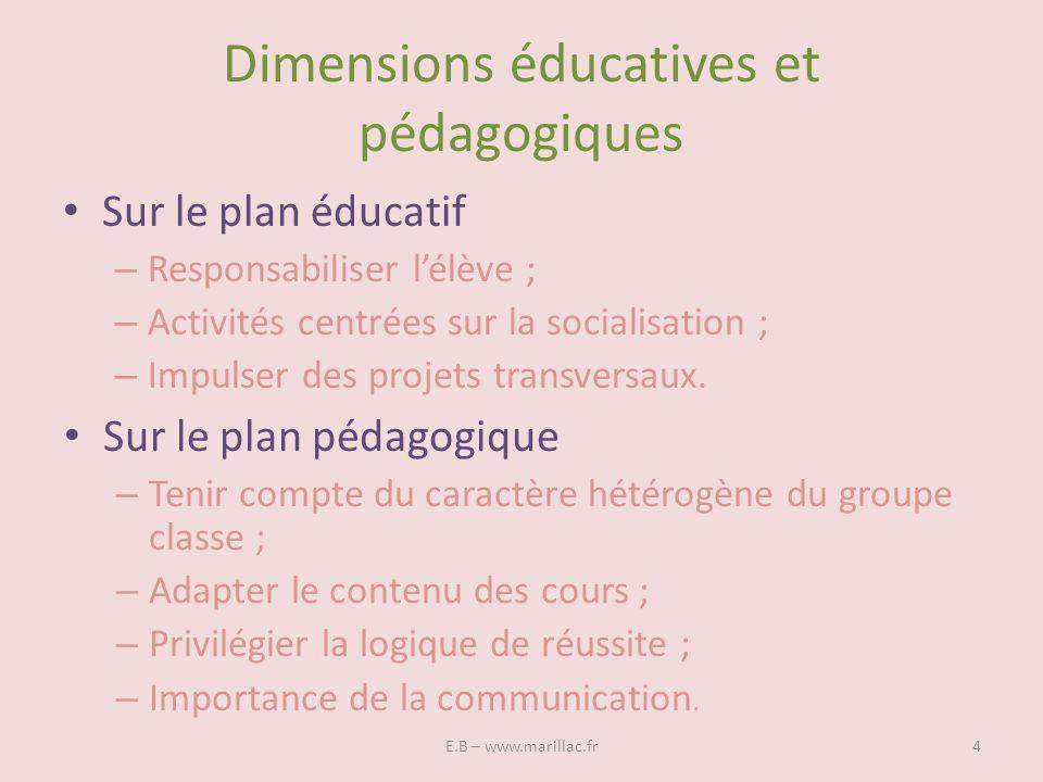 Dimensions éducatives et pédagogiques