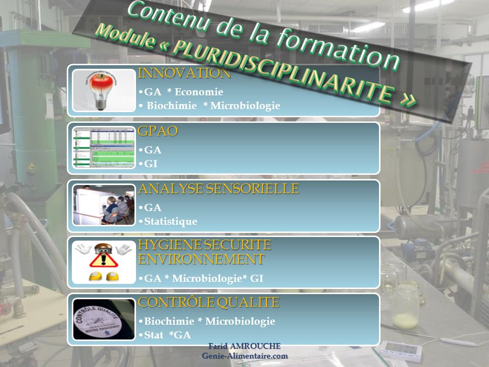 Contenu de la formation Module « PLURIDISCIPLINARITE »