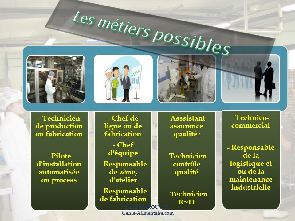 Les métiers possibles - Technicien de production ou fabrication