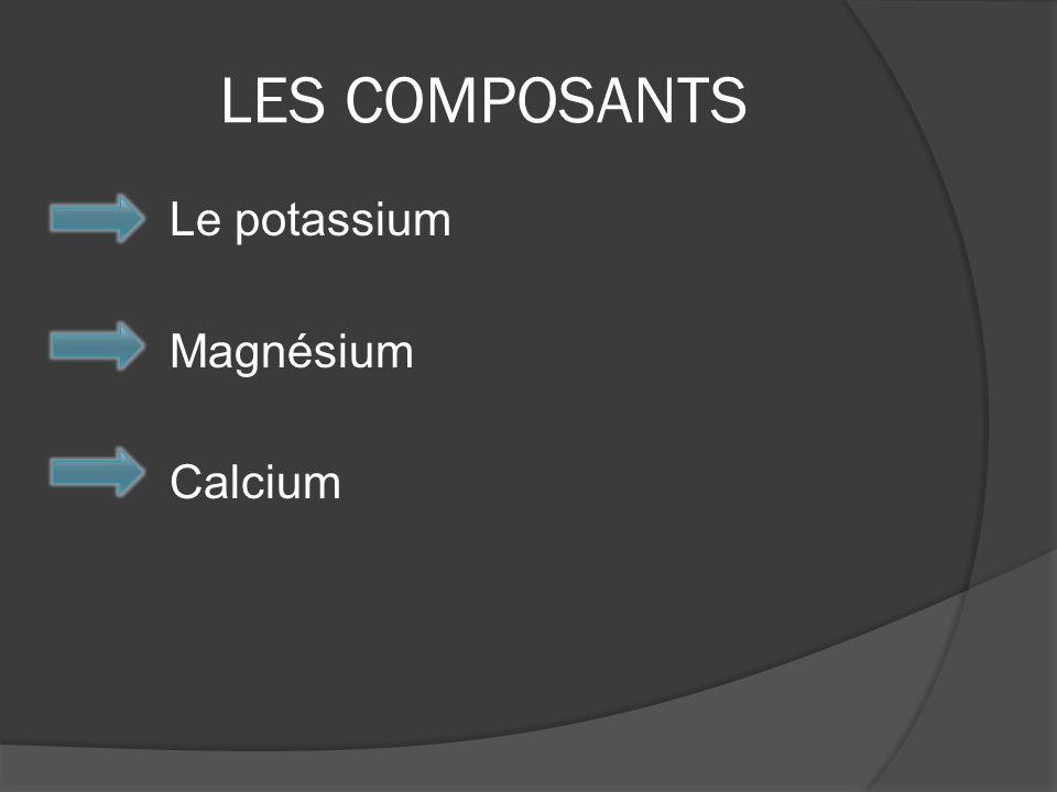 LES COMPOSANTS Le potassium Magnésium Calcium