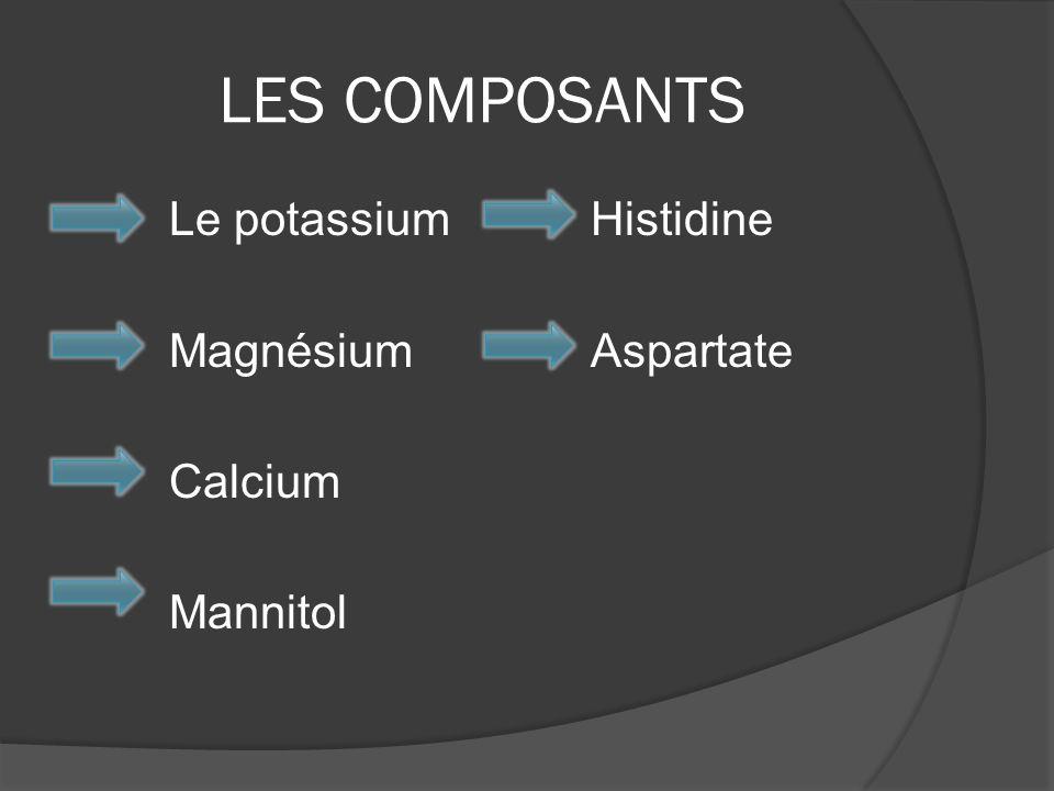 LES COMPOSANTS Le potassium Histidine Magnésium Aspartate Calcium