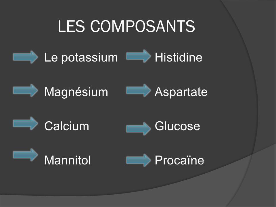 LES COMPOSANTS Le potassium Histidine Magnésium Aspartate