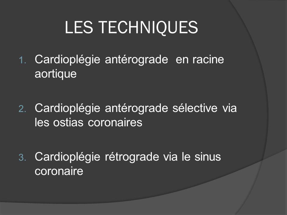 LES TECHNIQUES Cardioplégie antérograde en racine aortique