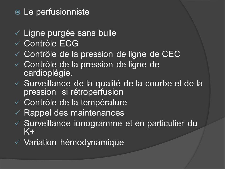 Le perfusionniste Ligne purgée sans bulle. Contrôle ECG. Contrôle de la pression de ligne de CEC.