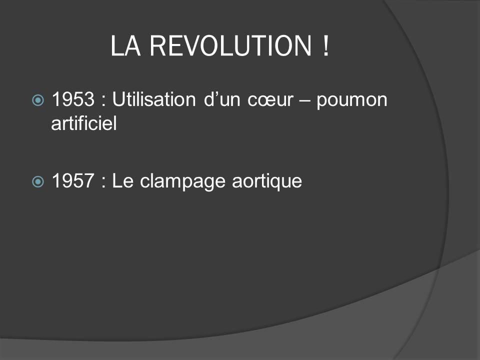 LA REVOLUTION ! 1953 : Utilisation d'un cœur – poumon artificiel