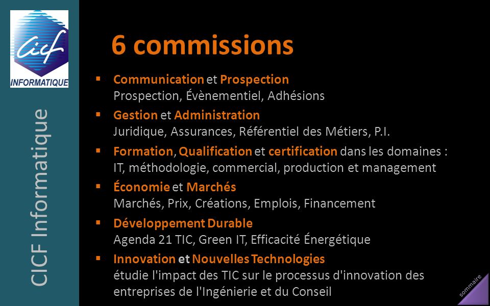 6 commissions CICF Informatique
