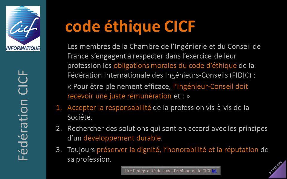 Lire l'intégralité du code d'éthique de la CICF ici