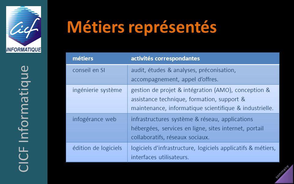 Métiers représentés CICF Informatique métiers