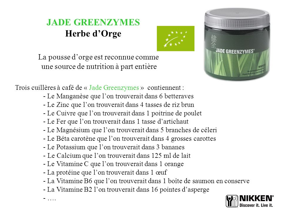 JADE GREENZYMES Herbe d'Orge