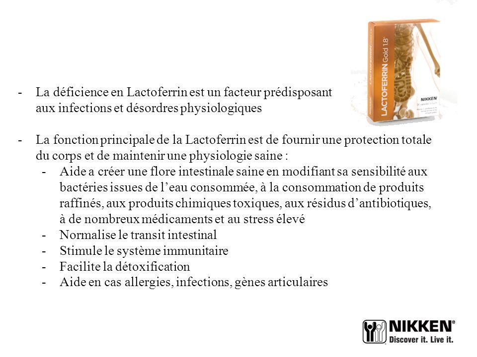 La déficience en Lactoferrin est un facteur prédisposant aux infections et désordres physiologiques