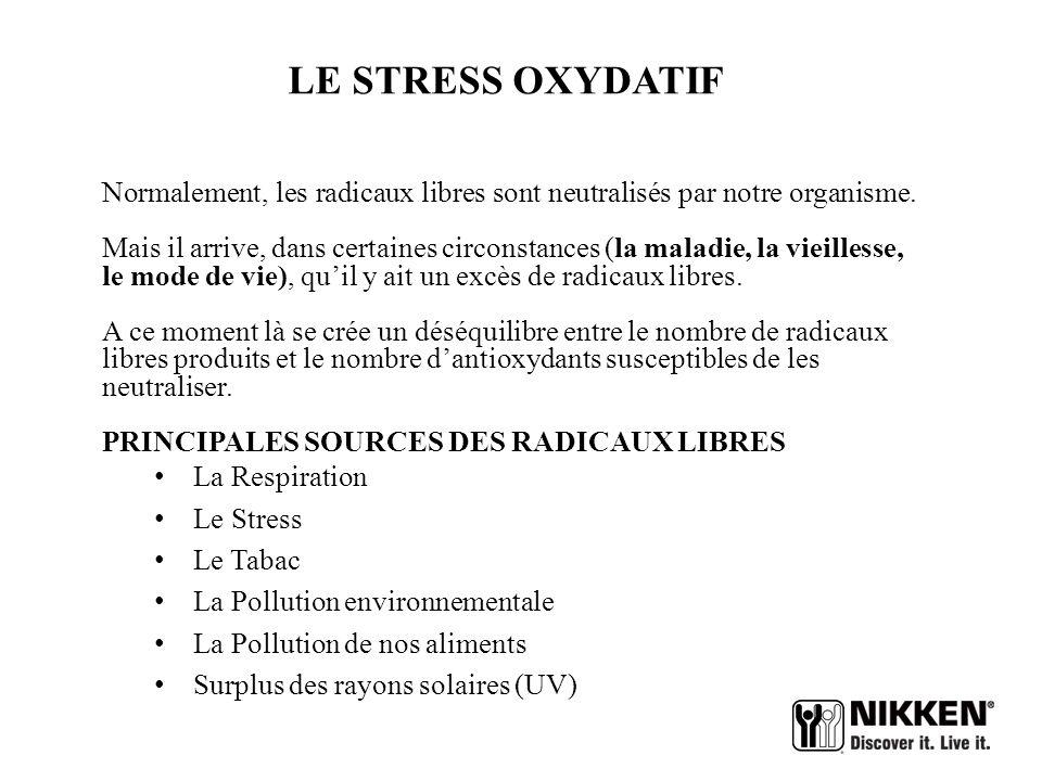 LE STRESS OXYDATIF Normalement, les radicaux libres sont neutralisés par notre organisme.