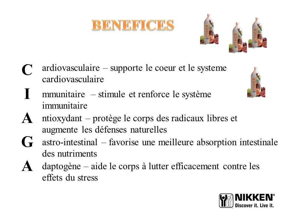 BENEFICES ardiovasculaire – supporte le coeur et le systeme cardiovasculaire. C. I. A. G.