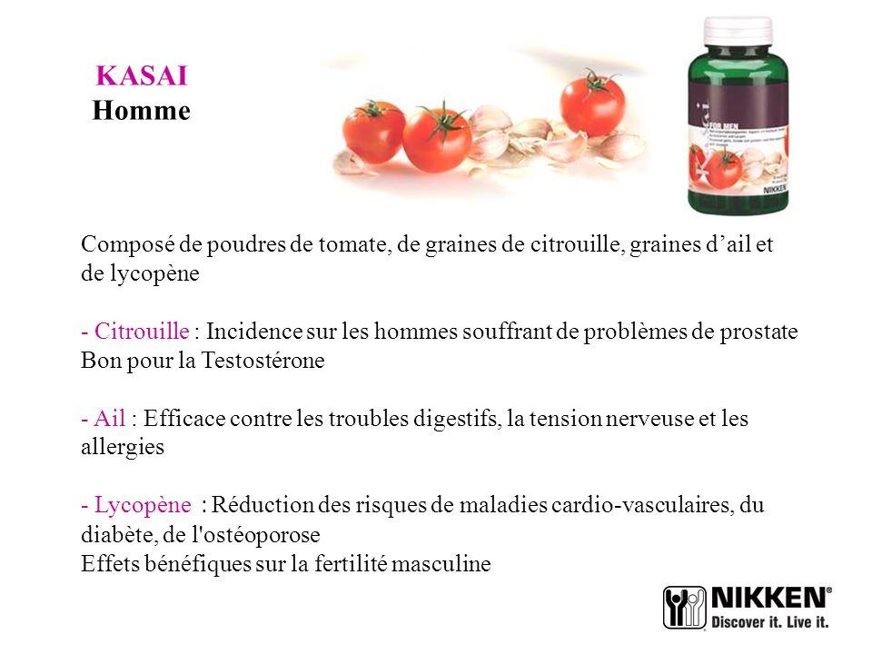 KASAI Homme Composé de poudres de tomate, de graines de citrouille, graines d'ail et de lycopène.