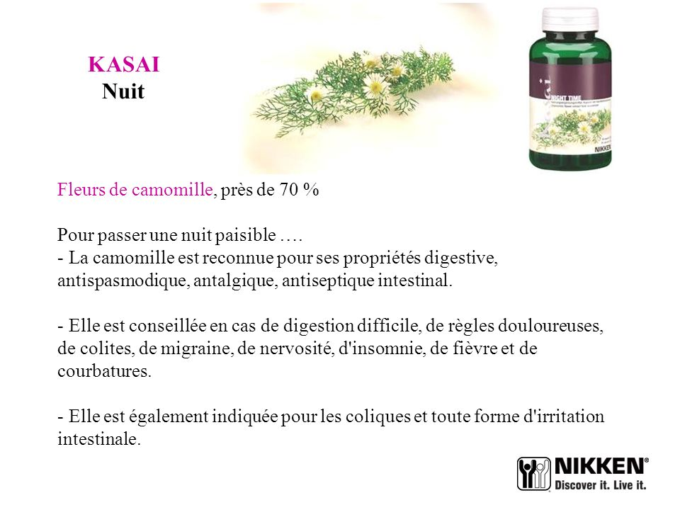 KASAI Nuit Fleurs de camomille, près de 70 %