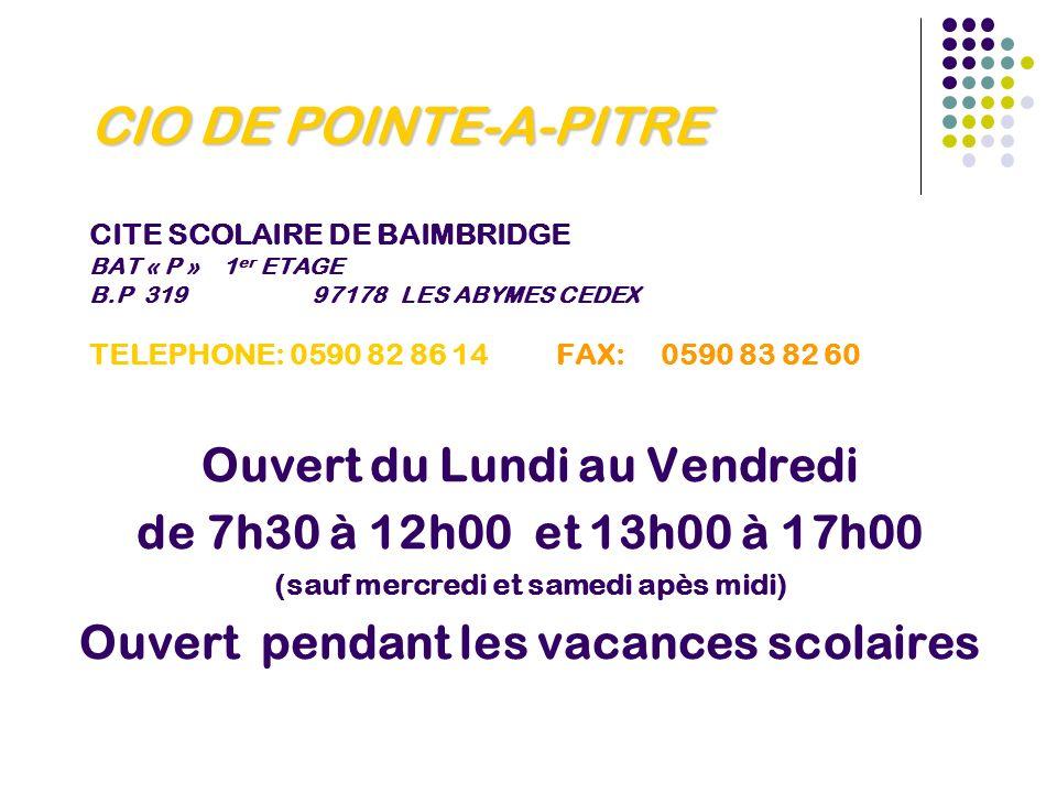 CIO DE POINTE-A-PITRE CITE SCOLAIRE DE BAIMBRIDGE BAT « P » 1er ETAGE B.P 319 97178 LES ABYMES CEDEX TELEPHONE: 0590 82 86 14 FAX: 0590 83 82 60