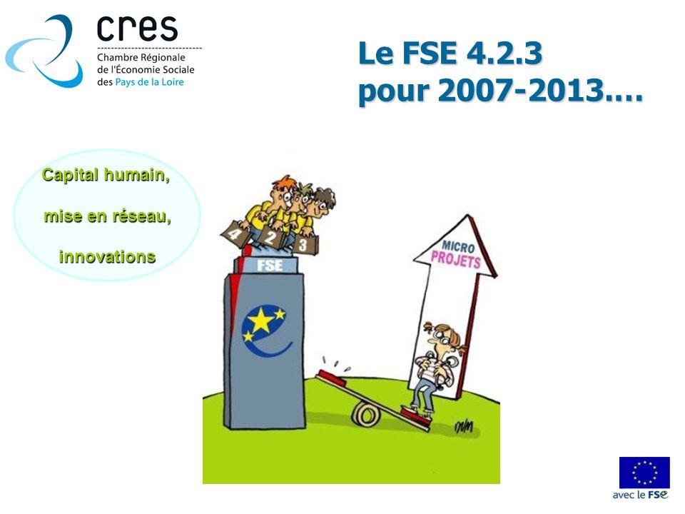 Le FSE 4.2.3 pour 2007-2013.… Capital humain, mise en réseau,