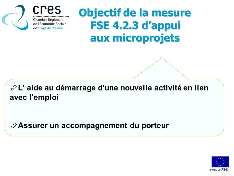 Objectif de la mesure FSE 4.2.3 d'appui aux microprojets