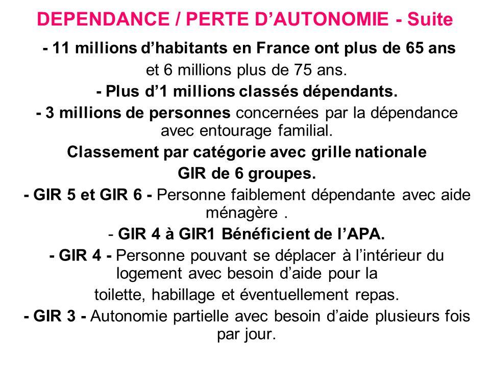 DEPENDANCE / PERTE D'AUTONOMIE - Suite