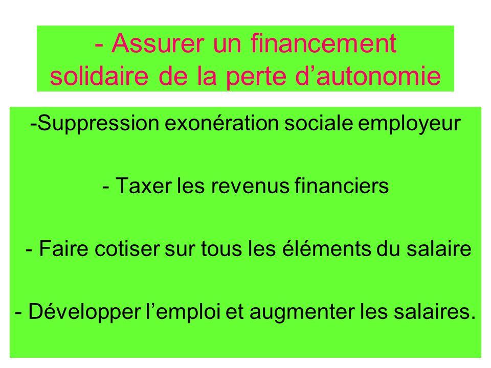 - Assurer un financement solidaire de la perte d'autonomie