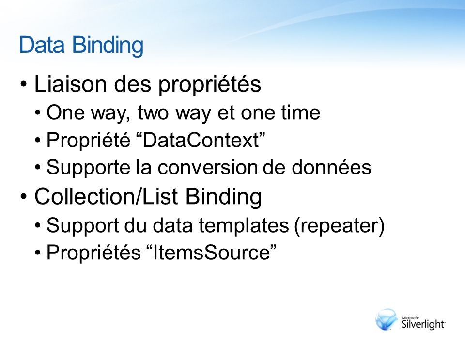 Data Binding Liaison des propriétés Collection/List Binding