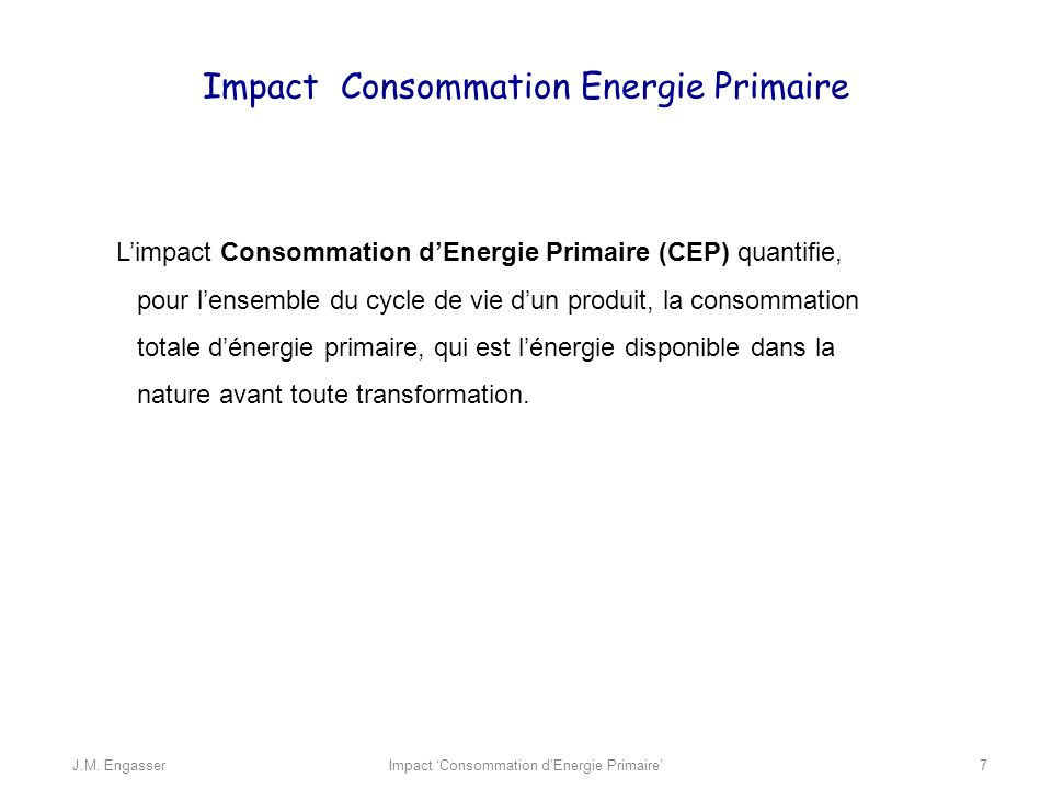 Impact Consommation Energie Primaire